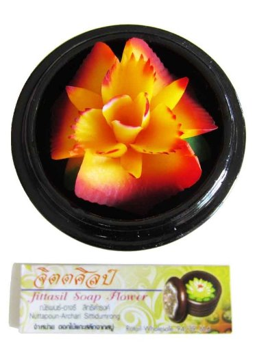 Jittasil Hand-Carved Soap Flower, Marigold Gift-Set In Decorative Wood Case, 4 Inch (Wood Thai Gift Box)