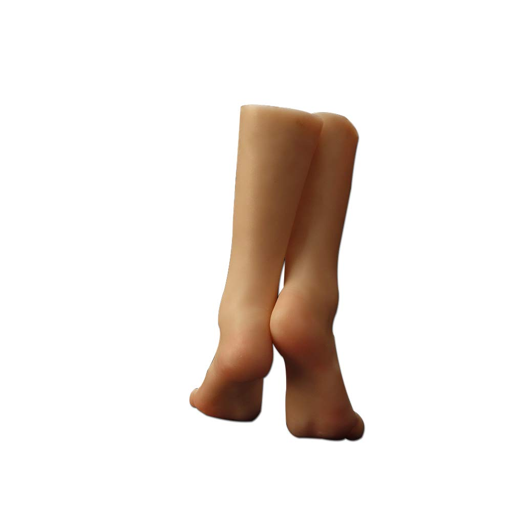 Silicone Foot Mannequin Life-Like Female Leg Display Model for Sketch Nail Art Practice Jewelry Sandal Shoe Sock Fetish (Single)
