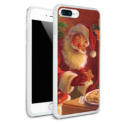 Christmas Holiday Santa Milk and Cookies Protective Slim Fit Hybrid Rubber Bumper Case Fits Apple iPhone 8 Plus