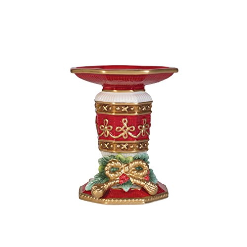 """Fitz and Floyd Yuletide Holiday Collection, Candleholder for 3"""" Pillar Candle"""