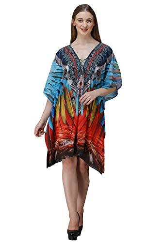 Rajoria Instyle Women's Georgette Digital Print Kaftan/Beach Coverup/Bikini Coverup/Kaftan Coverup/Body Coverup Top