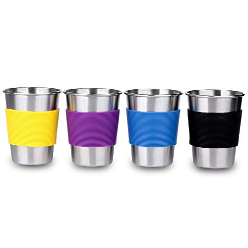 Unbreakable Metal Kids Drink Cups 11 oz Stainless Steel Drinking Glasses with Silicone Sleeve set of 4 for Home and Outdoor Activities