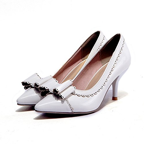 Pumps toe shoes Ruffles BalaMasa pour femme Blanc Cuir verni Pointed wHPSaFxq