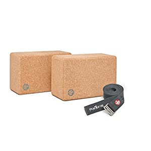 Manduka Syma 2 Yoga Blocks Set with Align 10ft Yoga Strap (Thunder)