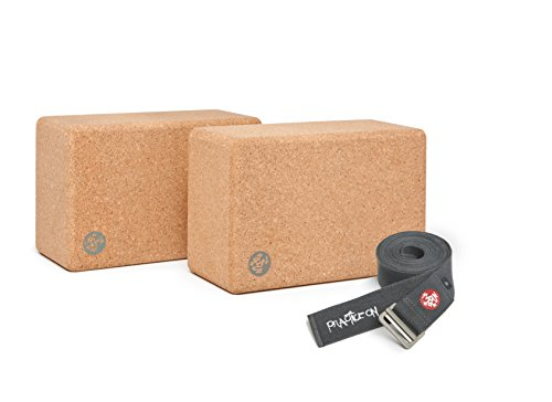 Manduka Syma 2 Yoga Blocks Set with Align 10ft Yoga Strap (Thunder)