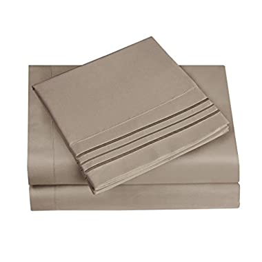 HC Collection Bed Sheet & Pillowcase Set HOTEL LUXURY 1800 Series Egyptian Quality Bedding Collection! Deep Pocket, Wrinkle & Fade Resistant,Luxurious,Comfortable,Extremely Durable(Queen, Taupe)