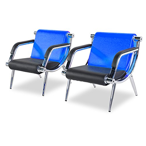 BORELAX 3PCS Office Reception Chair Set Blue and Black PU Leather Waiting Room Bench Visitor Guest Sofa Airport Clinic