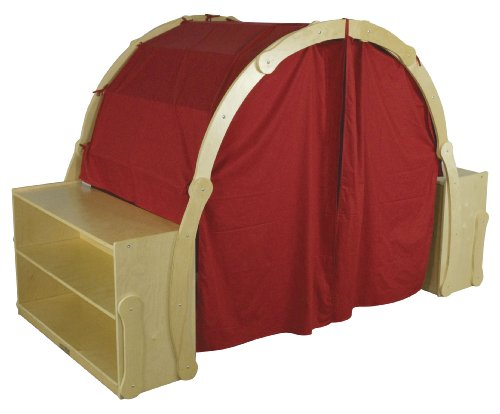 ECR4Kids Birch Discovery Cove with Curtains and Storage, Pretend Playhouse for Kids, Natural