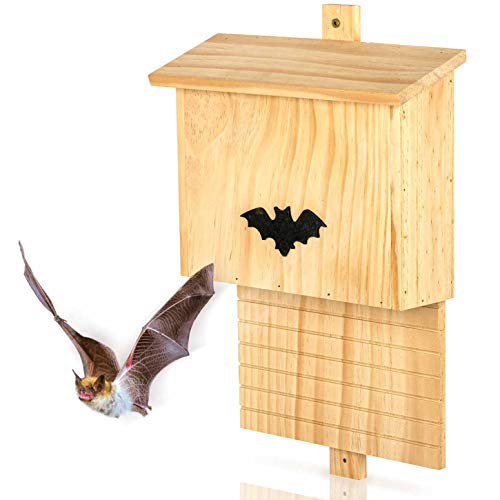 Large Wooden Bat Box – 29 x 10 x 42cm – Natural Garden Shelter For Roosting, Nesting & Hibernation|Weather Proof Habitat For Summer & Winter