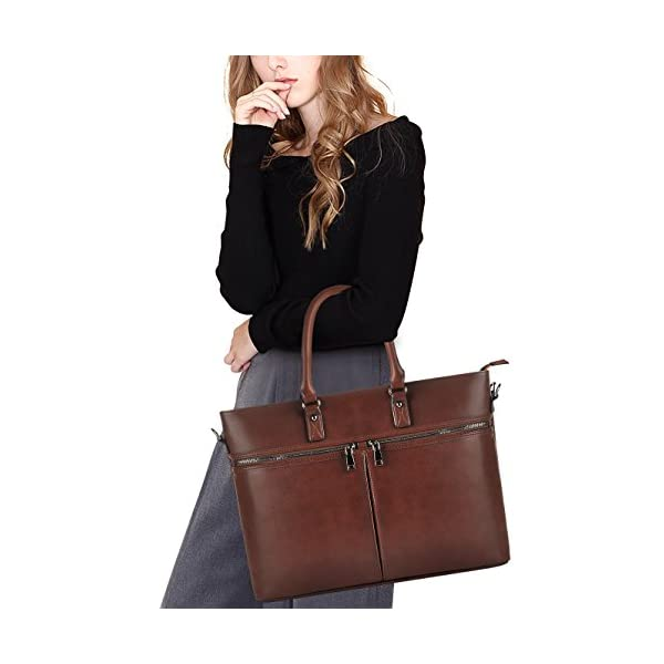 EDODAY-Laptop-Bag-for-WomenBusiness-Computer-Bags-for-Women-Up-to-156-InchMulti-Pockets-Zippered-Laptop-ToteCoffee