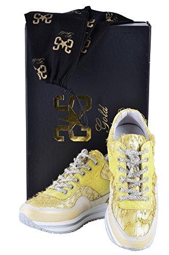 Gold Damen Gelber 36 2Star für Schuhe Ledersneaker rSrwqp