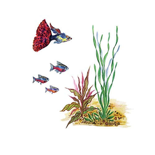 s Under The Sea Goldfish Water Grass Hand-Painted Creative Children's Room Background Decoration Affixed ()