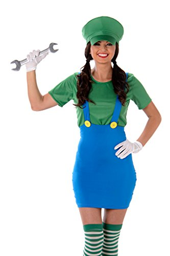 [Women's Green Plumber Costume - Halloween (L)] (Cute Police Costumes)