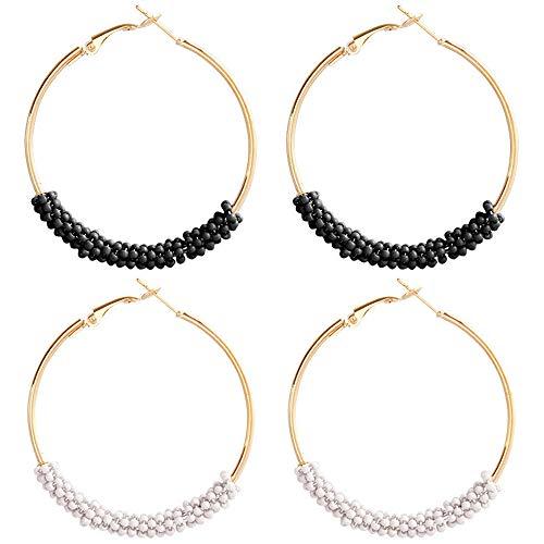 Beaded Hoop Circle Geometric Dangle Earrings Drop Beads Chandelier Stud Earrings Women Girls Fashion Piercing Minimalist Wedding Bridal Tribal Bohemian Dangling Charms Jewelry 2 Pack Black White