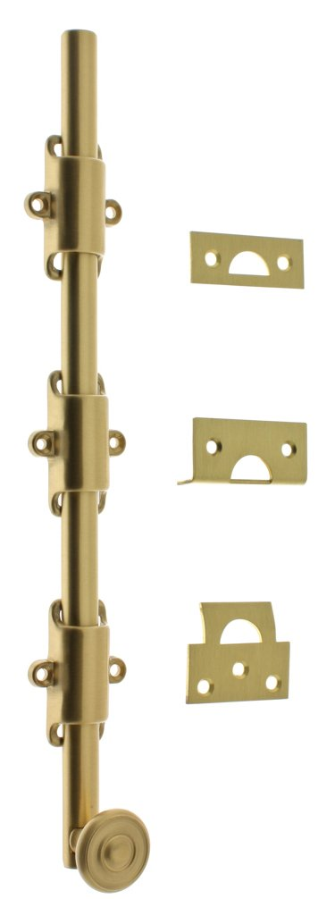 Professional Grade Quality Genuine Solid Brass 12'' Heavy Duty Surface Bolt With Colonial Swirl Knob by idh (Satin Brass)