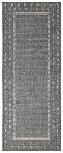 """Ottomanson Jardin Indoor/Outdoor Bordered Runner Rug, Gray, 2'X5', 20"""" x 59"""", Grey - VERSATILE: Robust construction makes it ideal for high-traffic areas indoor or outdoor. DURABLE and LONG LASTING: Power-loomed in Turkey with %100 polypropylene. LOW-PILE HEIGHT is non-shedding and ideal for homes with pets and high-traffic. - runner-rugs, entryway-furniture-decor, entryway-laundry-room - 41Ox5Dz1IsL -"""