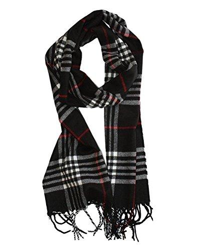 Zando Womens Plaid Checked Tartan Scarf Soft Warm Cashmere Feel Large Wrap Shawl Black