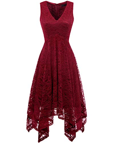 Bridesmay Women's Elegant V-Neck Sleeveless Asymmetrical Handkerchief Hem Floral Lace Cocktail Party Dress Dark Red XL