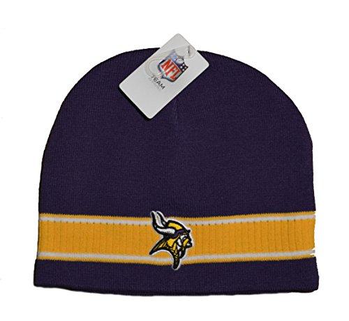 軍株式会社聞きますMinnesota Vikingsパープル2トーンスカルキャップ – NFL Cuffless冬ニットToqueビーニー帽子