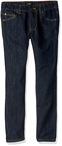 (DKNY Boys' Big' Greenwich Slim Fit Stretch 5 Pocket Denim Jean, raw Indigo, 10)