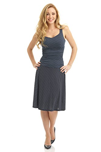 Rekucci Women's Sleeveless Fit and Flare Tummy Control Dress with Sweetheart Neckline (8,Navy White ()