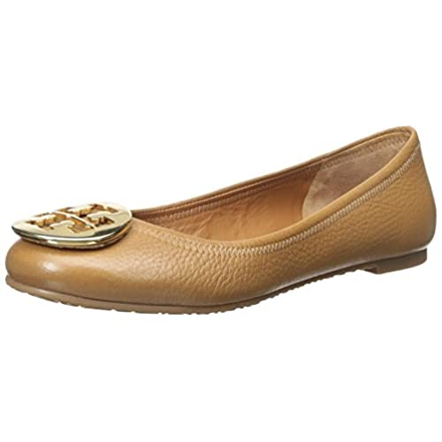 Tory Burch Reva Flat Leather Shoes TB Logo, Royal Tan/ Gold (7C)