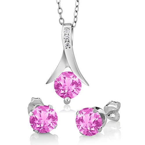 Diamond Scotch 14k White Gold Over Solitaire Pendant Necklace and Stud Earrings Jewelry Set for Women Simulated Pink Sapphire, 18 inches