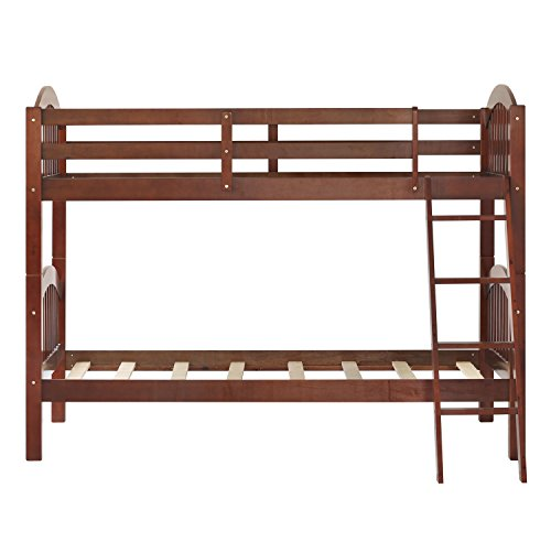 Harper&Bright Designs Twin-Over-Twin Solid Wood Bunk Bed (Walnut)