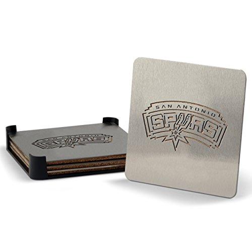 NBA San Antonio Spurs Boasters, Heavy Duty Stainless Steel Coasters, Set of 4 (Silver Nba Spur)