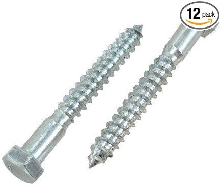 3//8 X 3-1//2 Zinc Plated Grade 2 Lag Screws Pack of 12