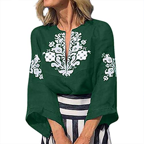(ONLYTOP_Clothing Womens Boho Long Sleeve Blouse,ONLYTOP Womens Casual Deep V-Neck Shirt Bohemian Print Beach T-Shirt Green)