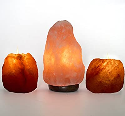 AMSkart Himalayan Rock Salt Lamp with Wooden Base and Dimmer Switch + 2 Pieces Himalayan Rock Salt Candle Holder