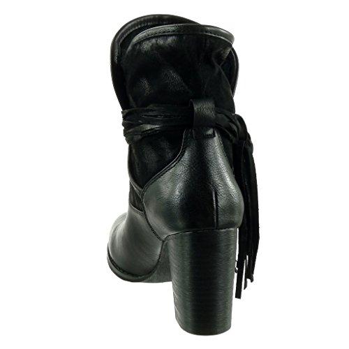 Angkorly - Zapatillas de Moda Botines cavalier bimaterial flexible mujer fleco multi-correa Talón Tacón ancho alto 9.5 CM - plantilla Forrada de Piel Negro