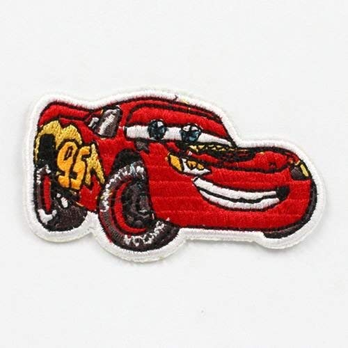 1pcs Lightning Mcqueen Cars Fabric Embroidered Iron/sew on Patch for Kids Cloth ()