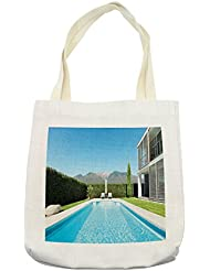 Lunarable Modern Tote Bag, Modern Villa with Pool view from the Garden Real Estate Contemporary Property, Cloth Linen Reusable Bag for Shopping Groceries Books Beach Travel & More, Cream