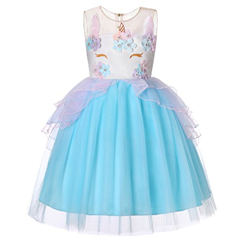 Molliya Unicorn Costume Dress Girl Princess Pageant Party Dresses Flower Evening Gowns Tutu Fancy Dress(Blue, 9T) -