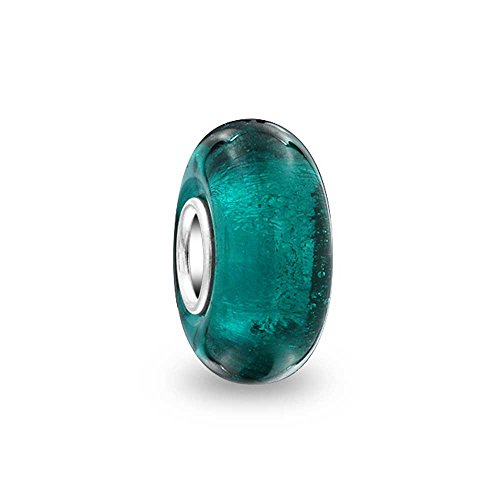Bling Jewelry Teal Blue Green Semitransparent Murano glass Lampwork Charm Bead .925 Sterling Silver