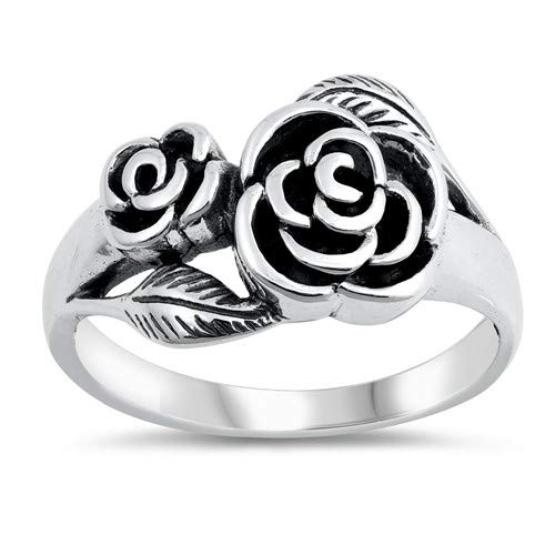Roses Glitzs Jewels 925 Sterling Silver Ring Cute Jewelry Gift for Women in Gift Box