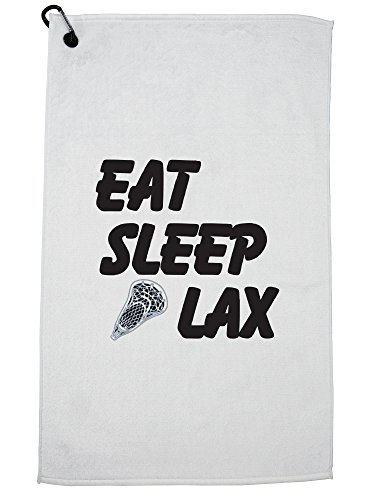 Hollywood Thread Eat Sleep Lax Graphic Lacrosse Player Trendy Design Golf Towel with Carabiner Clip by Hollywood Thread