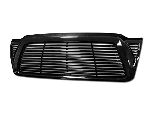 BLACK HORIZONTAL BILLET STYLE FRONT HOOD BUMPER GRILL GRILLE COVER 05-11 TACOMA -