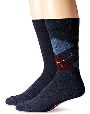 Men's 2 Pack Argyle Crew Socks