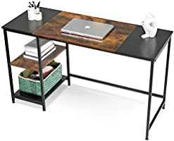 ComputerDesk, APOWE HomeOfficeDesk StudyWritingDesk Table withStorageShelves, PC Laptop Table Workstation with...