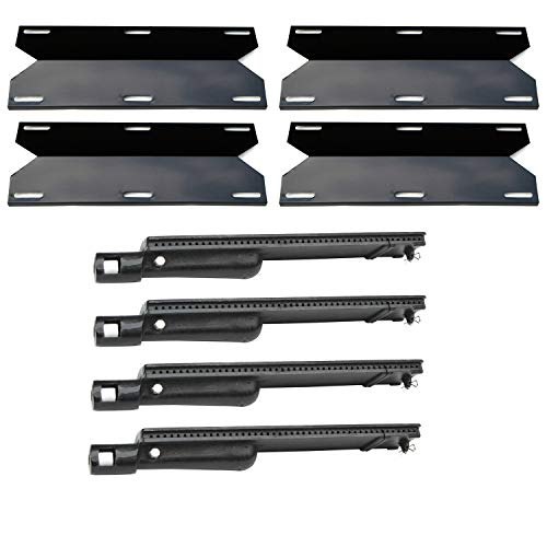 Direct Store Parts Kit DG247 Replacement Jenn Air Gas Grill; Glen Canyon 720-0026,720-0145 Grill, Repair Kit Burner and Heat Plate- 4 Pack (Cast Iron Burner + Porcelain Steel heat plates) (4) ()