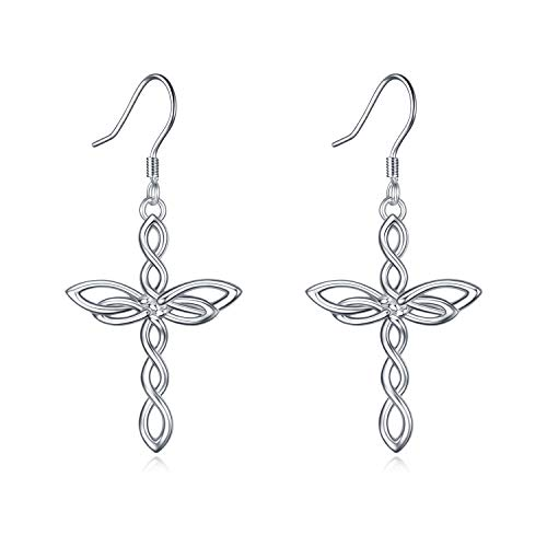 Celtic Knot Cross Earrings Sterling Silver Polished Religious Infinity Love Irish Celtics Cross Dangle Earrings for Women Girls(Celtic Knot Cross Dangle -