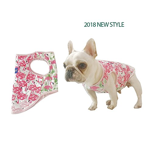 Stock Show Pet Dog Summer Vest, Camouflage Pattern Cute Teddy French Bulldog Dog 100% Cotton Fashion T-Shirt Breathable Sleeveless Summer Dog Clothes For Small Medium Dogs Puppy, Pink