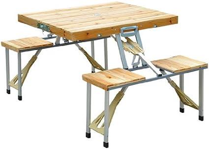 Table de camping Table Pliante Bois Table pique-pique-Salon Valise alu bois