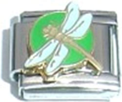 (Stylysh Charms Dragonfly Green White Wings Enamel Italian 9mm Link AN103)