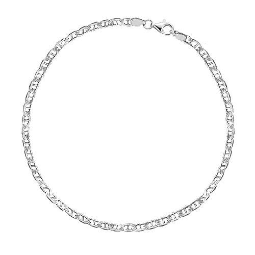 (Ritastephens Sterling Silver Italian Mariner Link Chain Anklet or Bracelet (Dainty or Regular))