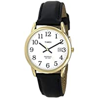 Timex Men's T2H291 Easy Reader Black Leather Watch