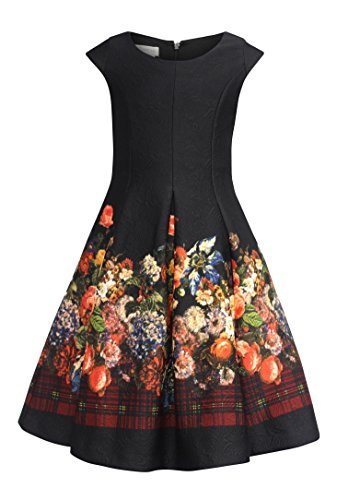Bonnie Jean Big Girls 7-16 Short Sleeve Embossed Floral Holiday Dress (16, -
